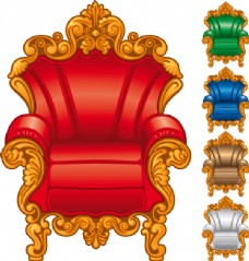 欧式华丽单人沙发向量