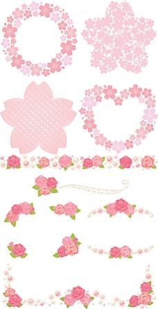 粉红花朵边框矢量图