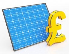 太阳能电池板和英镑符号显示节省的钱