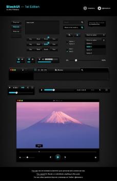 黑色质感网页图标设计ui设计