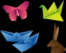 折纸叠纸动物矢量图片