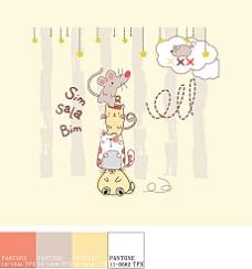 可爱小动物插画矢量03