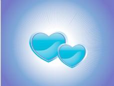 蓝色的背景上用两个心