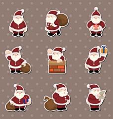 可爱的卡通圣诞元素贴纸