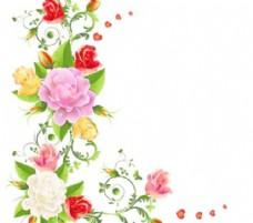 有露珠的矢量05色的花