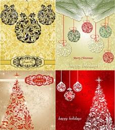 圣诞节花纹图案背景矢量