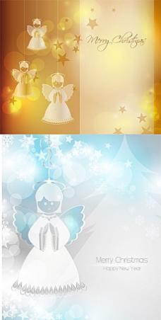 美丽天使圣诞节底纹背景矢量