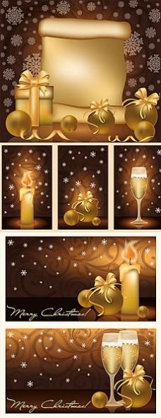 金色圣诞节蜡烛礼包背景设计矢量