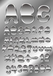 金属质感字体设计矢量