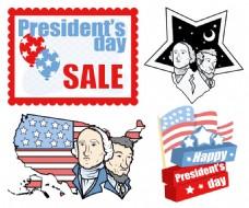美国爱国主题设计节日总统日向量集