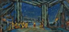 夜景油画图片