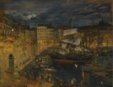 城市油画图片