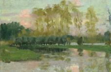 河边风景油画图片