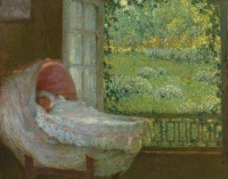 窗外景观油画图片