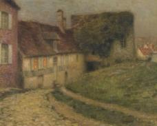 农村建筑油画图片