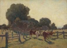 牧场油画图片