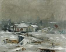 冬季雪景油画图片