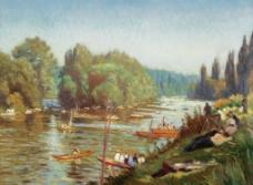 河流风光油画图片