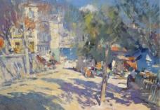 城镇油画图片