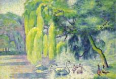 鸭子油画图片