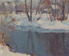 雪景油画图片