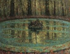 池塘油画图片