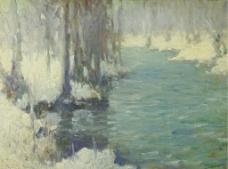 江河油画图片