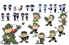 卡通军人警察图片