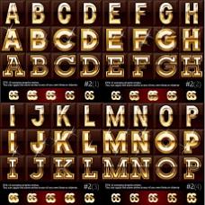 金属英文字体矢量素材,eps