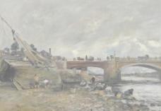 桥梁油画图片