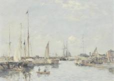 渔业港口油画图片