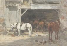 马匹油画图片