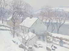 大雪油画图片