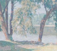 河流油画图片
