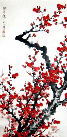 红梅怒放图片