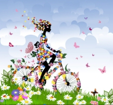 的春季花朵自行车