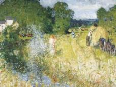 湿地油画图片