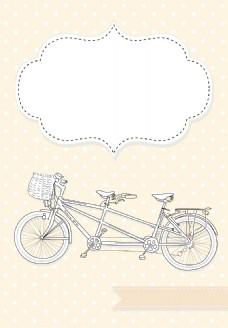 双人自行车婚礼邀请圆点背景