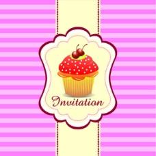 粉色格子蛋糕包装设计