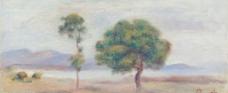 绿树油画图片