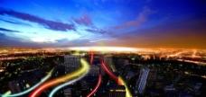 城市快速发展 多彩夜景图片