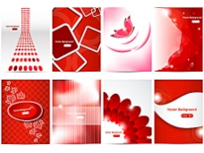 八种红色图案背景矢量素材