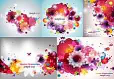 潮流色彩鲜花背景矢量素材