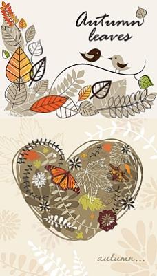线描树叶秋季背景矢量素材