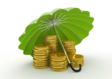 雨伞下的金币图片