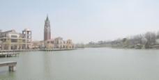 欧式小镇建筑湖区图片