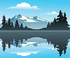 湖光山色矢量素材